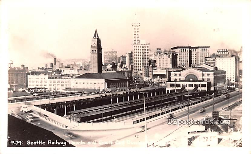 Seattle Railway Depots - Washington WA Postcard