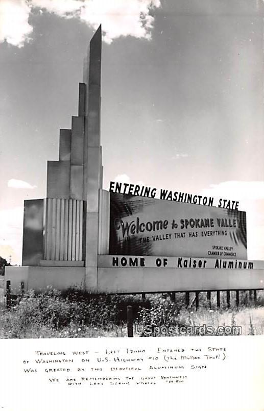 Entering Washington State - Spokane Valley Postcard