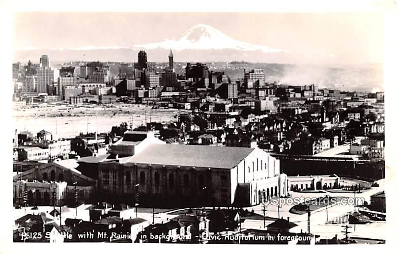 Mount Rainier in Background - Seattle, Washington WA Postcard
