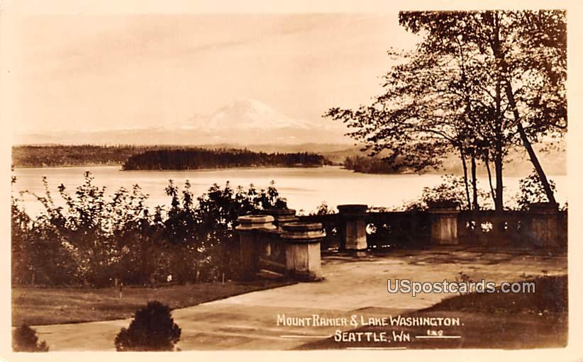 Mount Rainier and Lake Washington - Seattle Postcard