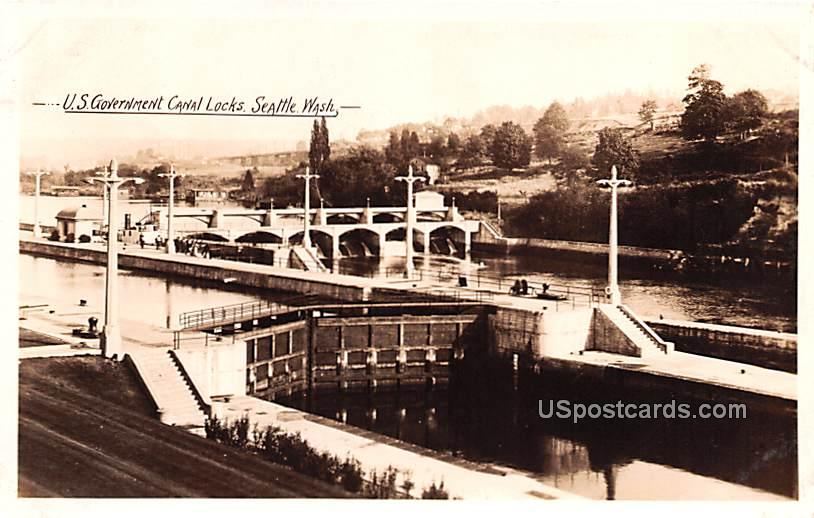 US Government Canal Locks - Seattle, Washington WA Postcard