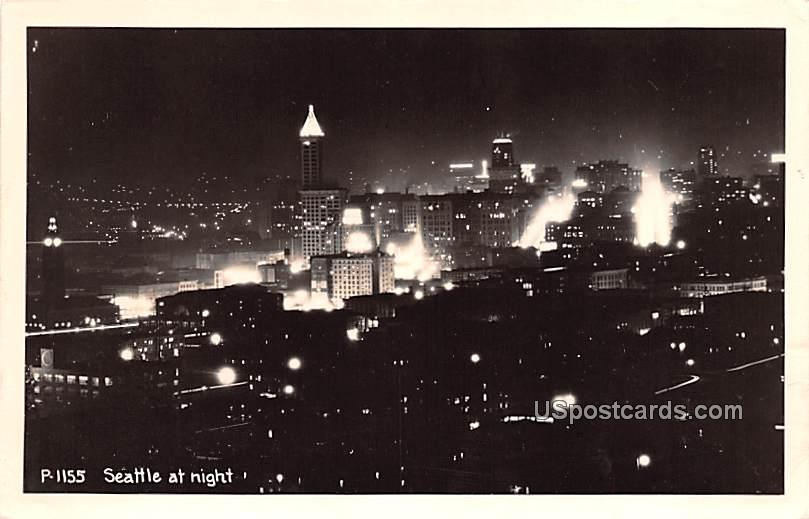 At Night - Seattle, Washington WA Postcard
