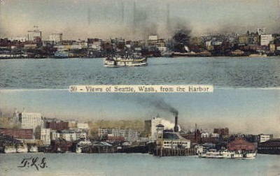 Views From The Harbor - Seattle, Washington WA Postcard