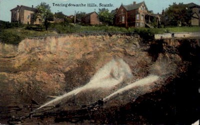 Tearing Down The Hills - Seattle, Washington WA Postcard