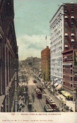 Second Avenue - Seattle, Washington WA Postcard