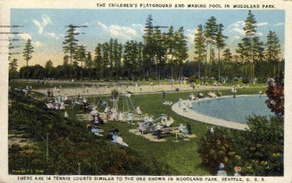 Childrens wading pool - Seattle, Washington WA Postcard