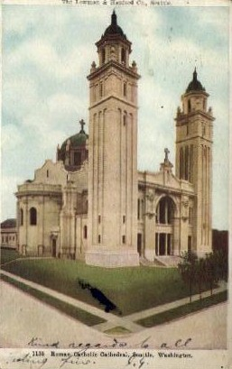 Roman Catholic Cathedral - Seattle, Washington WA Postcard