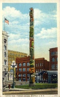 totem Pole  - Seattle, Washington WA Postcard