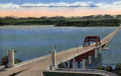 Floating Bridge Across Lake Washington - Seattle Postcard