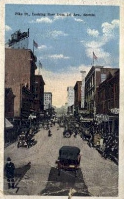 Pike Street - Seattle, Washington WA Postcard