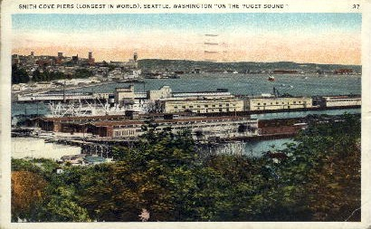 Smith Cove Piers - Seattle, Washington WA Postcard