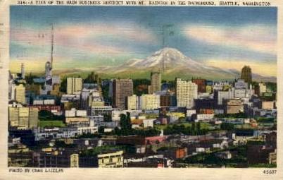 Main Business District - Seattle, Washington WA Postcard