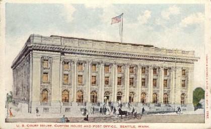U.S. Court House and Post Office - Seattle, Washington WA Postcard