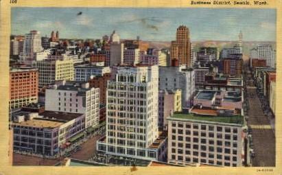 Business District - Seattle, Washington WA Postcard