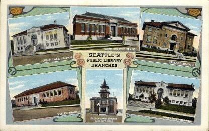 Public Library Branches - Seattle, Washington WA Postcard