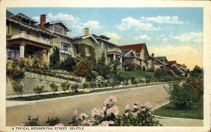 Residential Street - Seattle, Washington WA Postcard