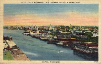 Water Front and Business District - Seattle, Washington WA Postcard