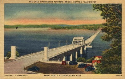 Floating Bridge - Seattle, Washington WA Postcard