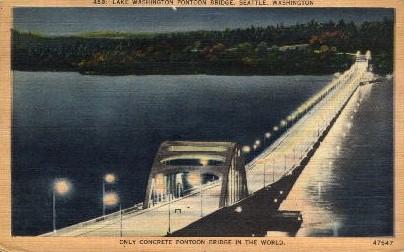 Pontoon Bridge - Seattle, Washington WA Postcard