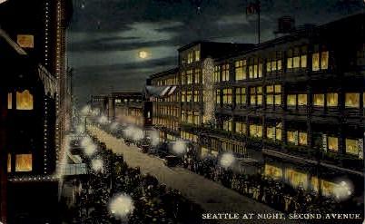 Second Avenue at Night - Seattle, Washington WA Postcard