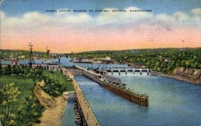 Canal Locks - Seattle, Washington WA Postcard