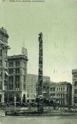 Totem Pole - Seattle, Washington WA Postcard