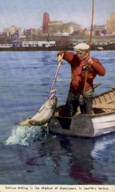 Salmon Fishing - Seattle, Washington WA Postcard