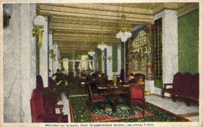Lobby of New Washington Hotel - Seattle Postcard
