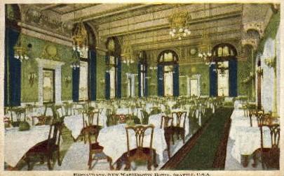 Restaurant in New Washington Hotel - Seattle Postcard