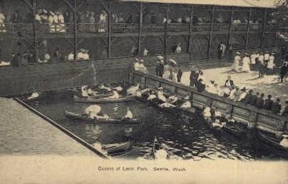 Canoes at Leshi Park - Seattle, Washington WA Postcard
