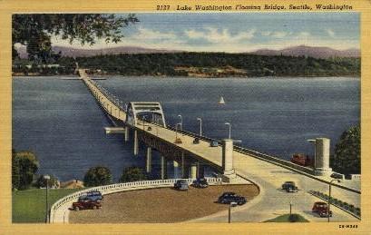 Floating Bridge Across Lake Washington - Seattle Postcard