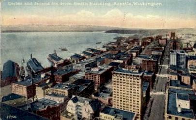 Harbor & Second Avenue - Seattle, Washington WA Postcard