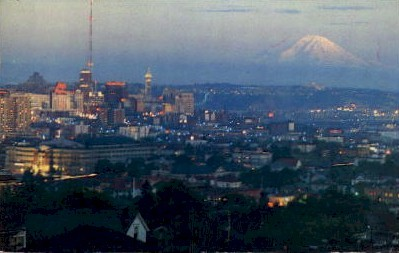 Mt. Ranier Sunset - Seattle, Washington WA Postcard