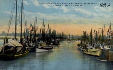 Salmon & Halibut Fleet - Seattle, Washington WA Postcard