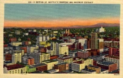 Shopping & Business District - Seattle, Washington WA Postcard