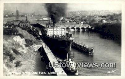 Real Photo - Canal Locks - Seattle, Washington WA Postcard