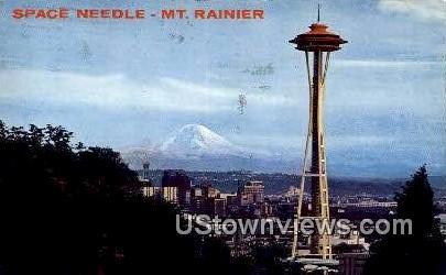 Space Needle mt Rainier - Seattle, Washington WA Postcard