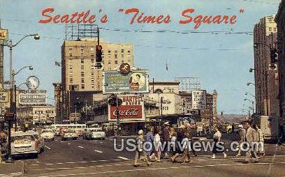 Times Square, Coca Cola - Seattle, Washington WA Postcard