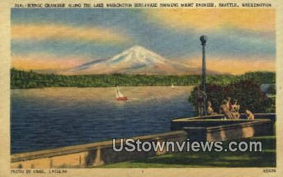 Lake Washington Blvd, Mt Rainier - Seattle Postcard