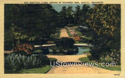 Floral Gardens, Volunteer Park - Seattle, Washington WA Postcard