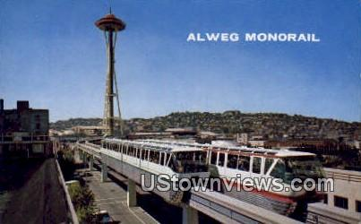 Alweg Monorail - Downtown Seattle, Washington WA Postcard