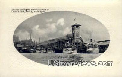Pugent Sound Steamers, Colman Dock - Seattle, Washington WA Postcard