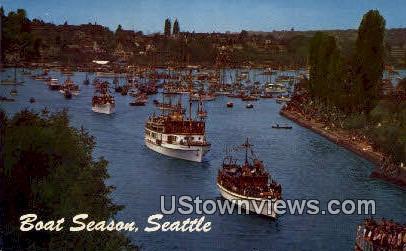 Boat Season - Seattle, Washington WA Postcard