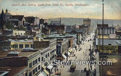Second Ave, Picke St - Seattle, Washington WA Postcard