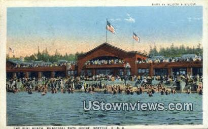 Alki Beach, Municipal Bath House - Seattle, Washington WA Postcard