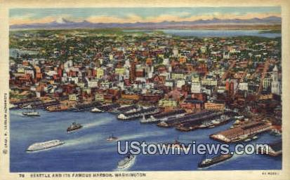Seattle Harbor, WA,     ;     Seattle Harbor, Washington Postcard