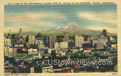 Main Business District, Mt Rainier - Seattle, Washington WA Postcard