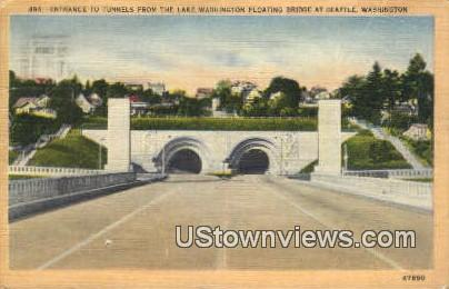 Tunnels, Lake Washingotn Floating Bridge - Seattle, Washington WA Postcard