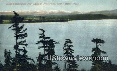 Lake Washington, Cascade Mountains - Seattle Postcard