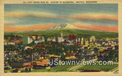 City Center, Mt Rainier - Seattle, Washington WA Postcard